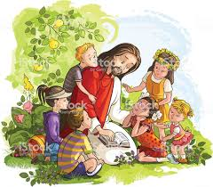Jezus Czytanie Biblii Z Dzieci - Stockowe grafiki wektorowe i ...