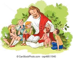 Biblia, dzieci, czytanie, jezus. Wektor, chrześcijanin, ilustracja.