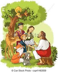 Dzieci, biblia, zwierzęta, czytanie, jezus. Dostępny, illustration ...